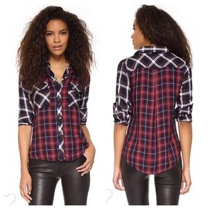 Rails Liza Two Tone 3/4 Sleeve Plaid Flannel Red